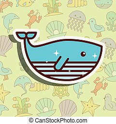 whale sea life cartoon
