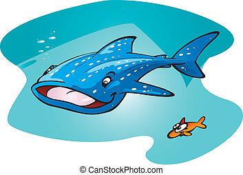 Whale Shark - A cartoon vector illustration of a happy whale...