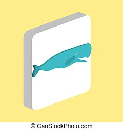 Whale Simple vector icon. Illustration symbol design template for web mobile UI element. Perfect color isometric pictogram on 3d white square. Whale icons for business project.
