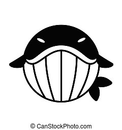 Whale Solid illustration - Puffy whale vector illustration...