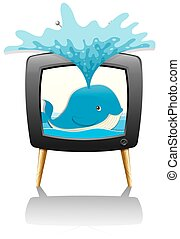 Whale splashing water out of television
