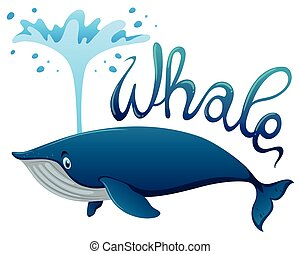 Whale splashing water with word