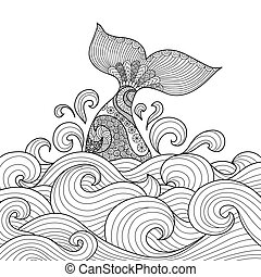 Whale tail in the wavy ocean line art design for coloring...