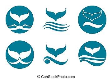 Whale Tail Logo - Whale tail monochrome logo set. Isolated...