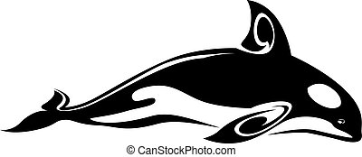 Whale tattoo - Wild whale tattoo for design isolated on...
