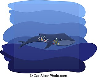 Whale with trash inside under the water