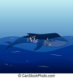Whale with trash inside