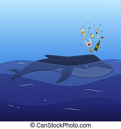 Whale with trash