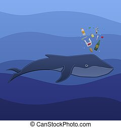 Whale with trash under the water