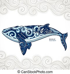 Whale with tribal ornaments