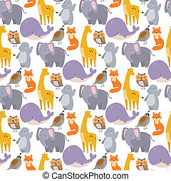 whale zoo animals illustration seamless pattern humpback...