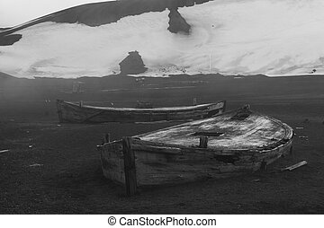 Whalers\' Bay, Antarctica - Abandoned boats at Whalers\' Bay...