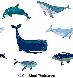 Whales seamless pattern, graphic handdrawn illustration