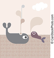 Whales - vector illustration