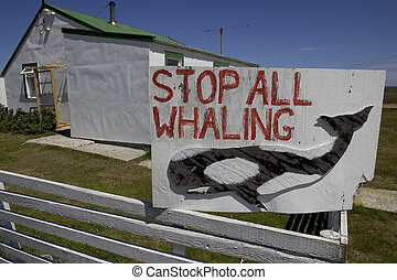 Whaling sign, Falklands, Sea Lion island,