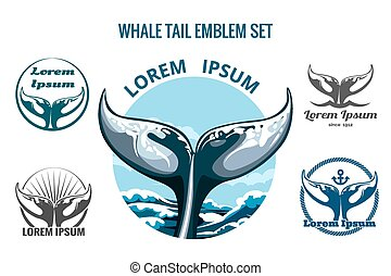 Whalw Tail Set - Whale tail logo or emblem set. Only free ...