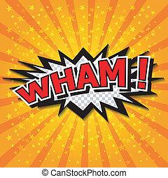 wham!, komiker, -, vortrag halten , bubble.