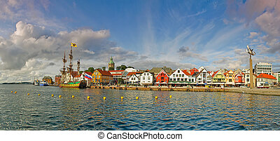 Wharf in Stavanger, Norway. - Panorama of the port city...