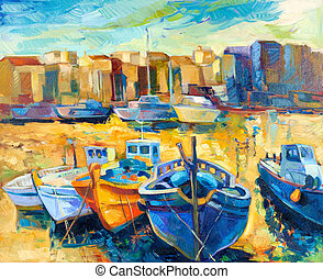 Original oil painting of beautiful suset over the wharf full of boats on canvas. Modern Impressionism
