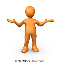 3d person with his hands up.