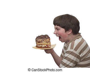 What a titbit! - A boy champing at the bit of home-made cake
