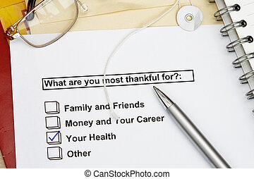 What are you most thankful for - survey for personal growth. Many uses for personal training and workshop.
