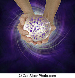 Female hands cupped around a large crystal ball with random numbers emerging on a purple black spiralling energy field background with copy space below