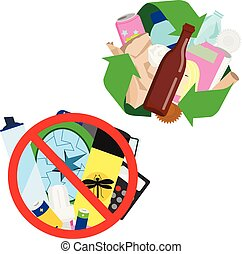 What can be and can't be recycled vector illustration. Recycling symbol with different trash inside