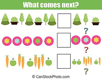 What comes next educational children game. Kids activity sheet, continue the row, logic puzzle