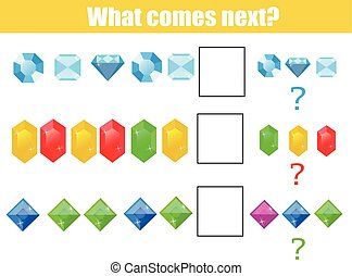What comes next educational children game. Kids activity sheet, continue the row task
