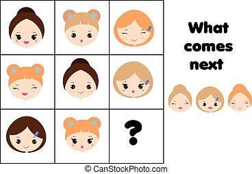 What comes next educational children game. Kids activity sheet, training logic, continue the row task