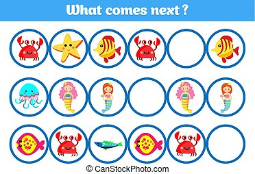 What comes next educational children game. Kids activity sheet, training logic. Vector illustration