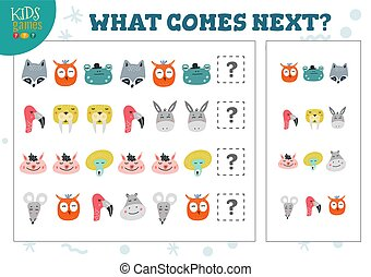 What comes next kids educational game vector illustration