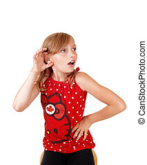 What did you say? - A young blond girl in a red sweater and...
