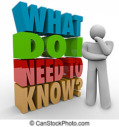 What Do I Need to Know Person Thinking Beside 3d Words