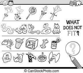 what does not fit game cartoon - Cartoon Illustration of...