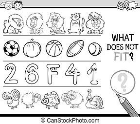 what does not fit task - Black and White Cartoon...