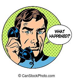 What happened man phone question online support business concept