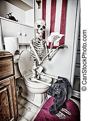 Skeleton handling the paperwork in the bathroom. The crow has died from the fumes. HDR.