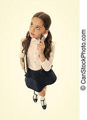 What if. Child school uniform kid doing homework. Girl ...