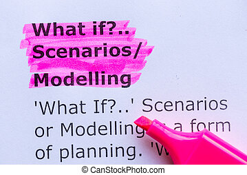 what if,scenario, modelling word highlighted on the white background