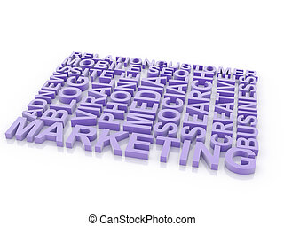 What is a Marketing. The concept of the words on white isolated background. 3d