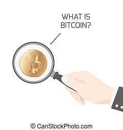 What is Bitcoin BTC hand magnifying glass isolated - What is...