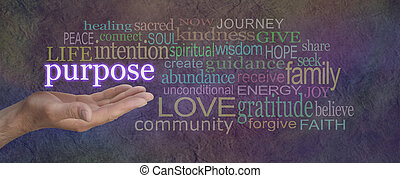 Male hand open palm upwards with the word Purpose floating above surrounded by a multicolored word cloud on a wide stone effect background
