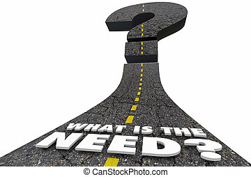 What is the Need Road Words Question 3d Illustration