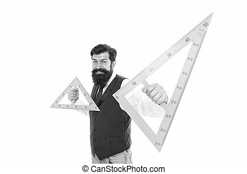 What is triangle. Bearded man hold triangles isolated on white. School teacher smile with geometric triangles. Geometry lesson. Math learning. Triangles with three sides and three angles.