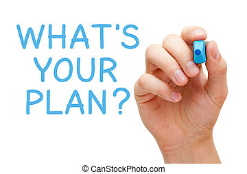 Hand writing What's Your Plan with blue marker on transparent wipe board.