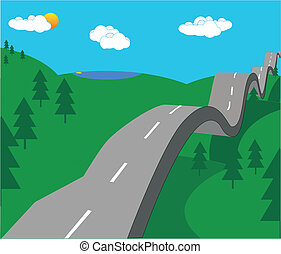 The road going on forever over hills, by trees and into the sky. You never know what will happen tomorrow!