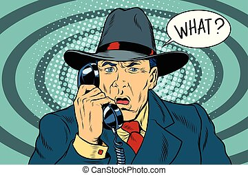 What Surprised retro businessman talking on the phone