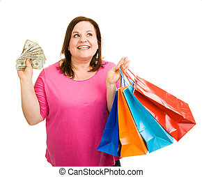 What To Buy Next? - Beautiful plus sized woman with a hand ...